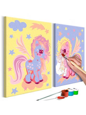 Artgeist Malen nach Zahlen Magische Einhörner in Gelb,Violett,rosa