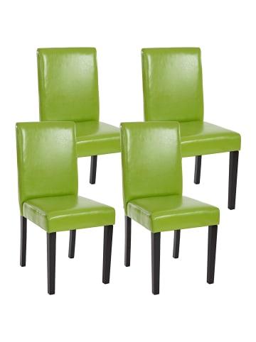 MCW 4x Esszimmerstuhl Littau, Kunstleder, grün, dunkle Beine