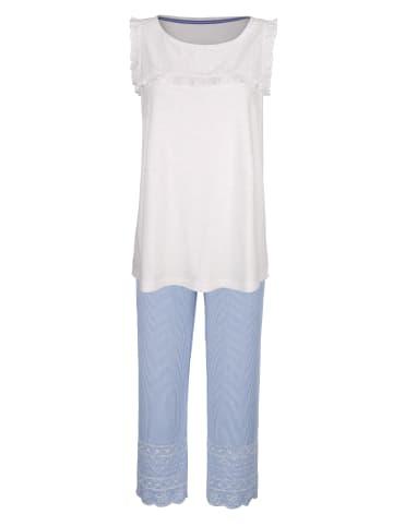 Simone Schlafanzug in Weiß,Blau