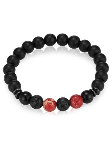 Gemdor Armband Onyx Jaspis in Schwarz in rot