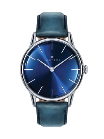 August Berg Uhr Serenity Deep Blue Silver Blue Leather 32mm in sunray blue