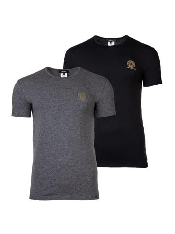 Versace T-Shirt 2er Pack in Schwarz/Grau