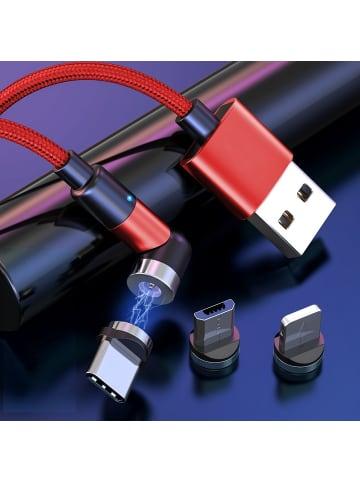 UMC-King Ultra USB-Magnet Ladekabel mit 180 ° / 360 ° drehbarer Kopf + 3 Pins rot