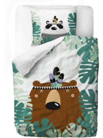 Mr Little Fox Kinderbettwäsche aus Satin, Bären, 135 x 200 + 80 x 80 cm