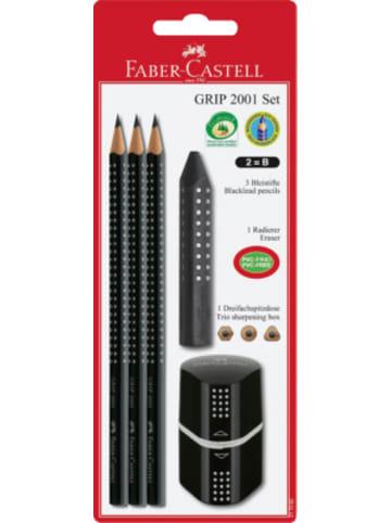 Faber-Castell Bleistiftset GRIP 2001 schwarz, 5-tlg., inkl. Radierer & Spitzdose