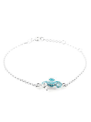"""Heartbreaker Armband """"Sealife Seepferdchen 19,5 cm LDSL83"""" in silber und türkis"""