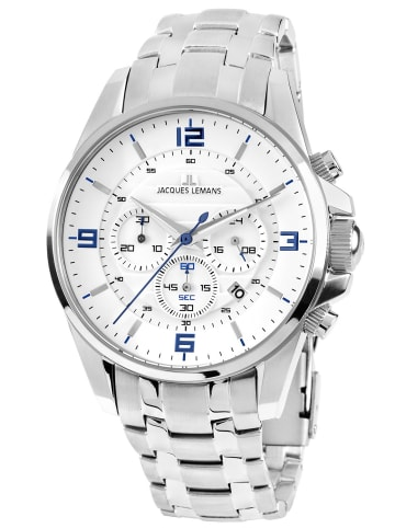 Jacques Lemans Herrenuhr Chronograph Liverpool Weiß / Silber