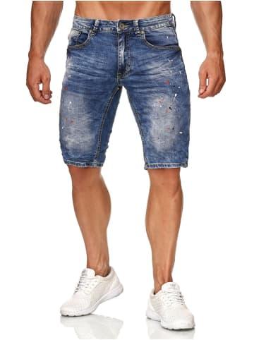 Leeyo Denim Bermuda Jeans Shorts in Blau