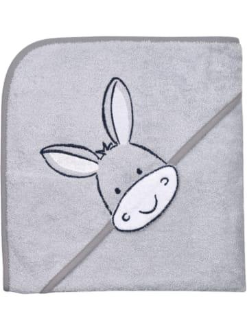 Wörner Kapuzenbadetuch XL, Esel, grau, 100 x 100 cm