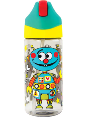 Partystrolche Trinkflasche Roboter inkl. Trinkhalm, 350 ml