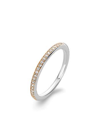 "Ti Sento Milano Ring ""Halbeternity mit Zirkonia bicolor rosè"" in silber und gold"