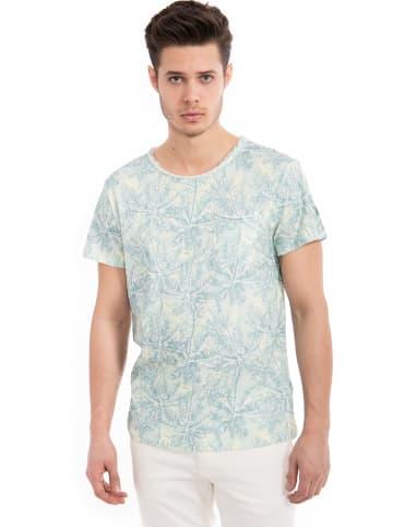 Way of Glory Way of Glory WAY OF GLORY  Basic T-Shirt Tropical Print& Tasche in grün