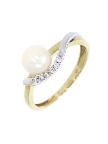 """Luxxos Ring """"mit SW-Zuchtperle und Zirkonia"""" in gold und weiß und silber"""
