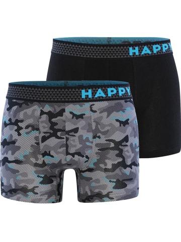 Happy Shorts Boxershorts Trunks #2 in Grau/Schwarz