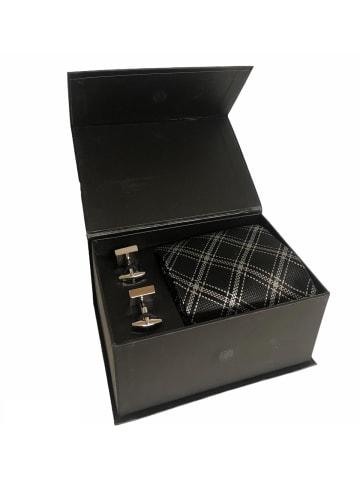 Mexx Seiden Krawatte mit Manschettenknöpfe Herren kariert schwarz / weiß