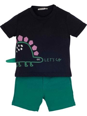 Mamino Kindermode Baby Junge Set T-Shirt mit Short -Let's go in grün