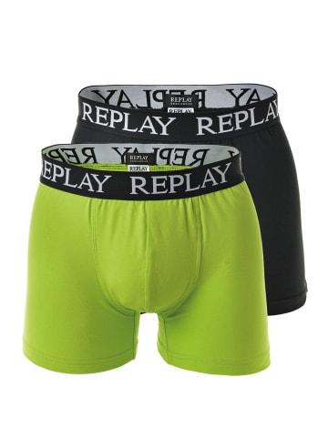 Replay Boxershort 2er Pack in Limette/Schwarz