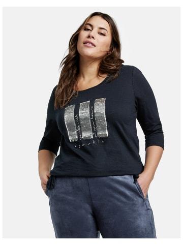 SAMOON T-Shirt 3/4 Arm Rundhals in Blau