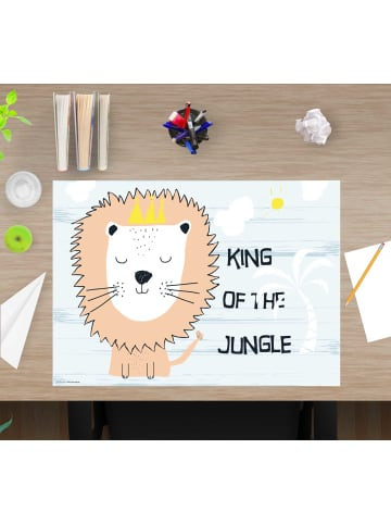 "Cover-your-desk.de  Schreibtischunterlage ""King of the jungle"" in hellblau (L)60 x (B)40"