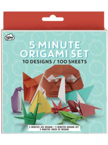 """Npw Origami Set """"5 Minuten"""", 100 Blätter in 10 Designs, 80g/m²"""