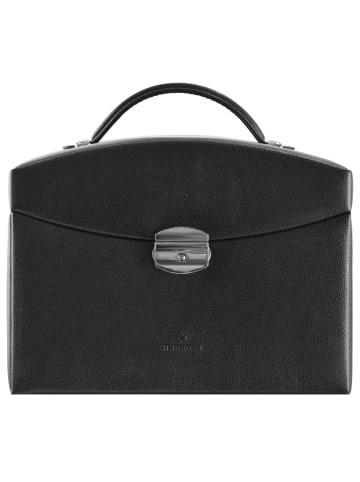 Windrose Beluga Schmuckkoffer 25 cm Leder in schwarz