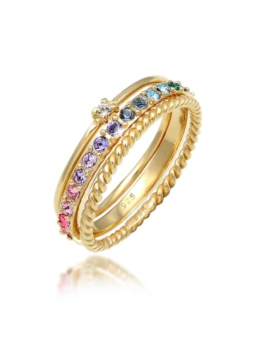 Elli Ring 925 Sterling Silber Kristall Ring, Multi-Color in Gold