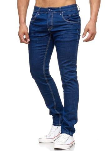 Jeansnet Slim Fit Jeans Denim Design Hose in Dunkelblau
