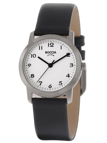 Boccia Titan-Damenuhr mit Lederarmband Weiß / Schwarz / Silber