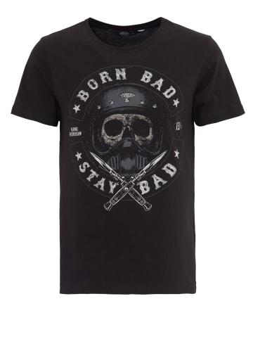 King Kerosin King Kerosin KING KEROSIN T-Shirt mit Skull Print Born Bad Stay Bad in schwarz