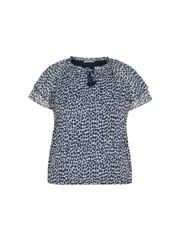 Rabe Bluse mit getupftem Muster und hoch geschlossenem Ausschnitt in TINTE