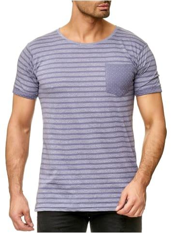 Urban Surface T-Shirt Gestreift Meliert Rundhals Modern Art Shirt Brusttasche in Blau