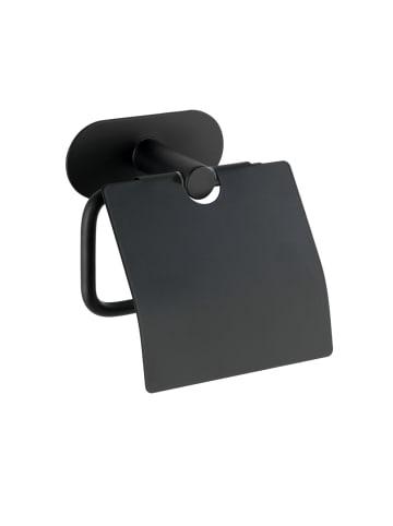 Wenko Turbo-Loc® Edelstahl Toilettenpapierhalter mit Deckel Orea Black Matt, WC-Rollenhalter, Befestigen ohne bohren in Schwarz, Matt