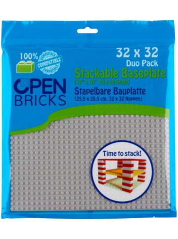 Open Bricks stapelbare Bauplatte 32x32 light grey 2er Set stapelbare Bauplatten -...