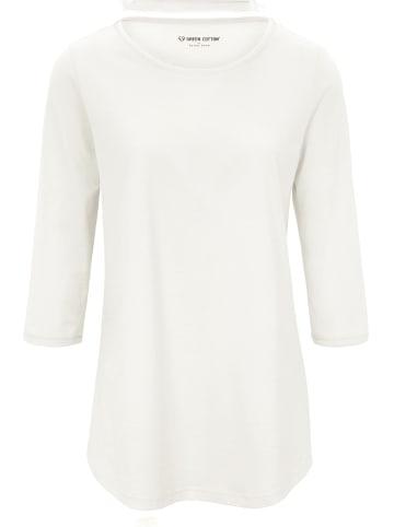 Green Cotton Long-Shirt mit 3/4-Arm in ecru