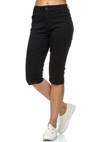 Simply Chic Kurze Capri Jeans Shorts Sommer Bermuda 3/4 Hose in Schwarz