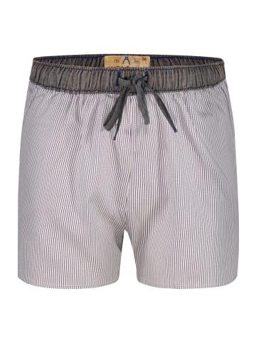 Luca David Pyjama-Shorts Olden Glory in Blau/Weiss