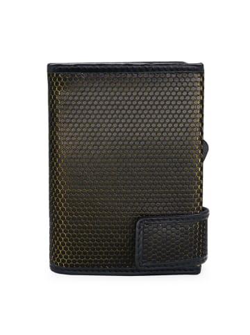 SecWal Kreditkartenetui RFID Leder 7 cm in schwarz-gelb