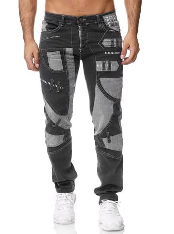 Jaylvis Jeans Japan Style Hose Patches Cargo Dicke Nähte in Dunkelgrau