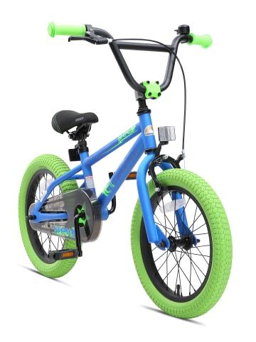 "BIKESTAR Kinder Fahrrad ""BMX"" in Blau Grün - 16 Zoll"