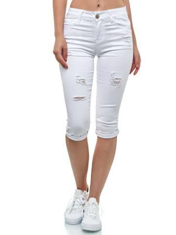MiSS RJ Kurze Capri Jeans Shorts leichte Bermuda Sommer Hose in Weiß