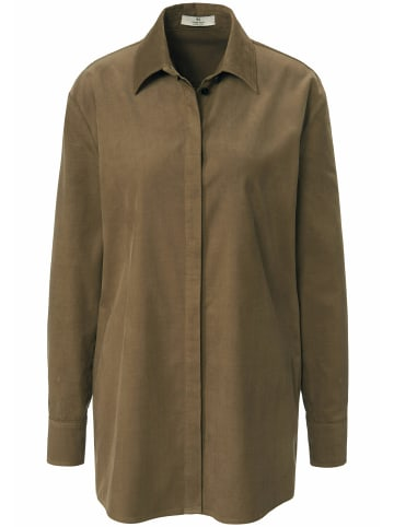 PETER HAHN Langarmbluse cotton in khaki