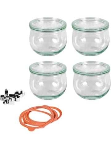 WECK 4er-Set Eingläser Tulpenglas-Form 0,5l, mit Deckel, Gummis & Klammern