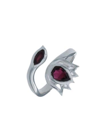 """Luxxos Ring """"mit 2 Granat"""" in silber und rot"""