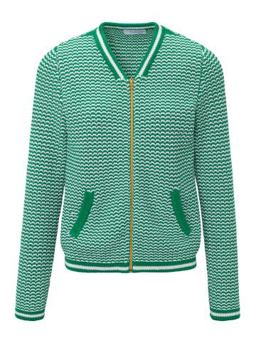 LOOXENT Strickjacke im Blouson-Style in grün/weiß