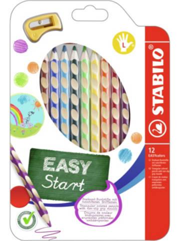 STABILO Buntstifte EASYcolors Linkshänder, 12 Farben, inkl. Spitzer
