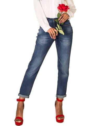 Nina Carter Boyfriend Denim Jeans Hose Stretch Weites Bein Baggy Relaxed in Hellblau
