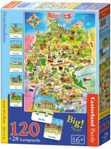 Castorland Lernpuzzle 120 + 28 Teile Deutschlandkarte