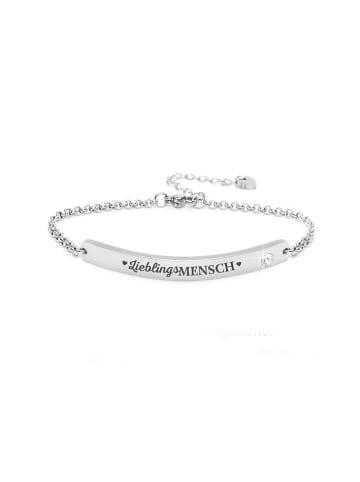 """Silvity Gravur Armband """"Lieblingsmensch"""" mit einem Kristall Stein  in Silber"""