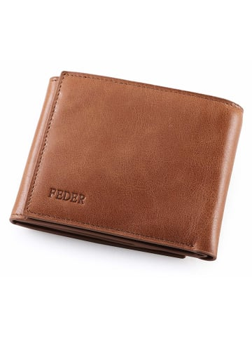 FEDER Leder Geldbörse Premium + Geschenkbox in Cognac Braun
