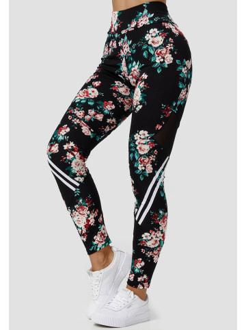Holala Stretch Leggings Fitness Hose mit Blumen Print in Grün